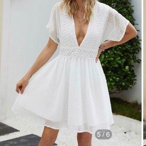 White Swiss Dot Summer Dress